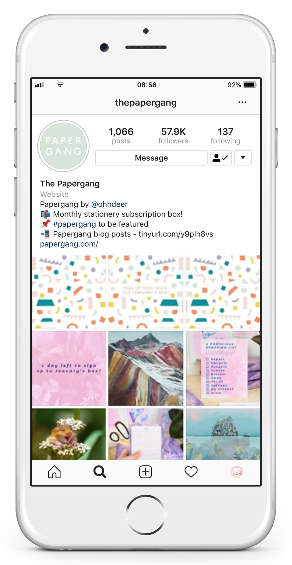 @thepapergang - Follow the Papergang Instagram! Each month we curate our feed around each boxes theme, for February it's all about the Happy Vibes! Follow for bright colours, positive messages and quirky animations. Hit that follow button!