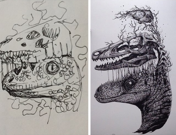From sketch to final piece. I'm sure there's a few more steps in-between…
