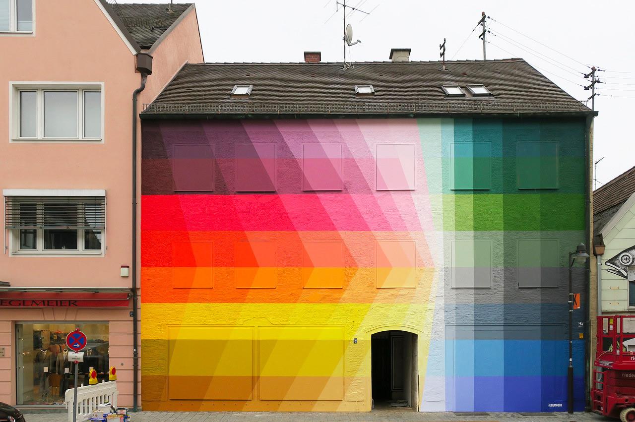 Colour block gradient mural