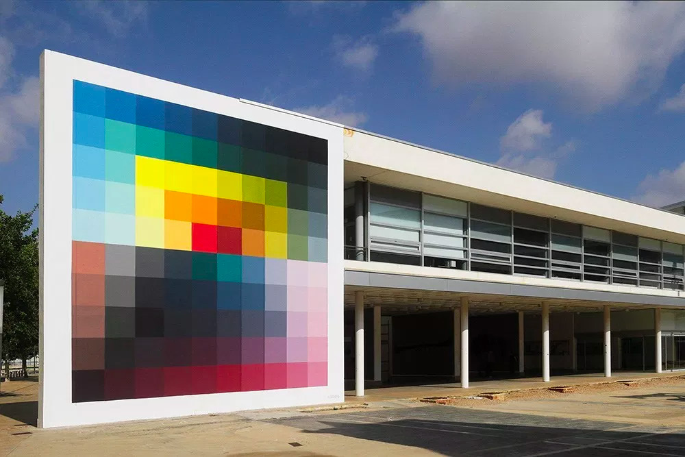 crazy colour block mural pattern