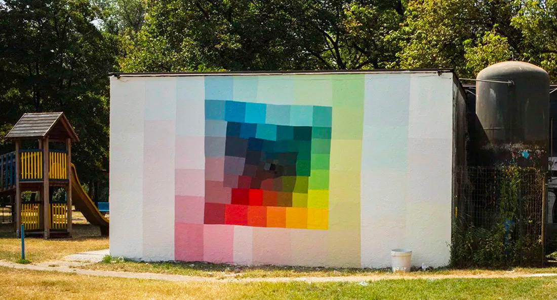 trippy colourful mural