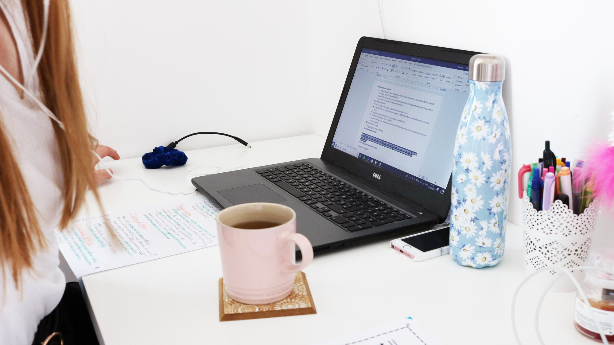 Here's a peek at Rhiannon's desk setup…showing how good desk is never short of a cup of tea!!!