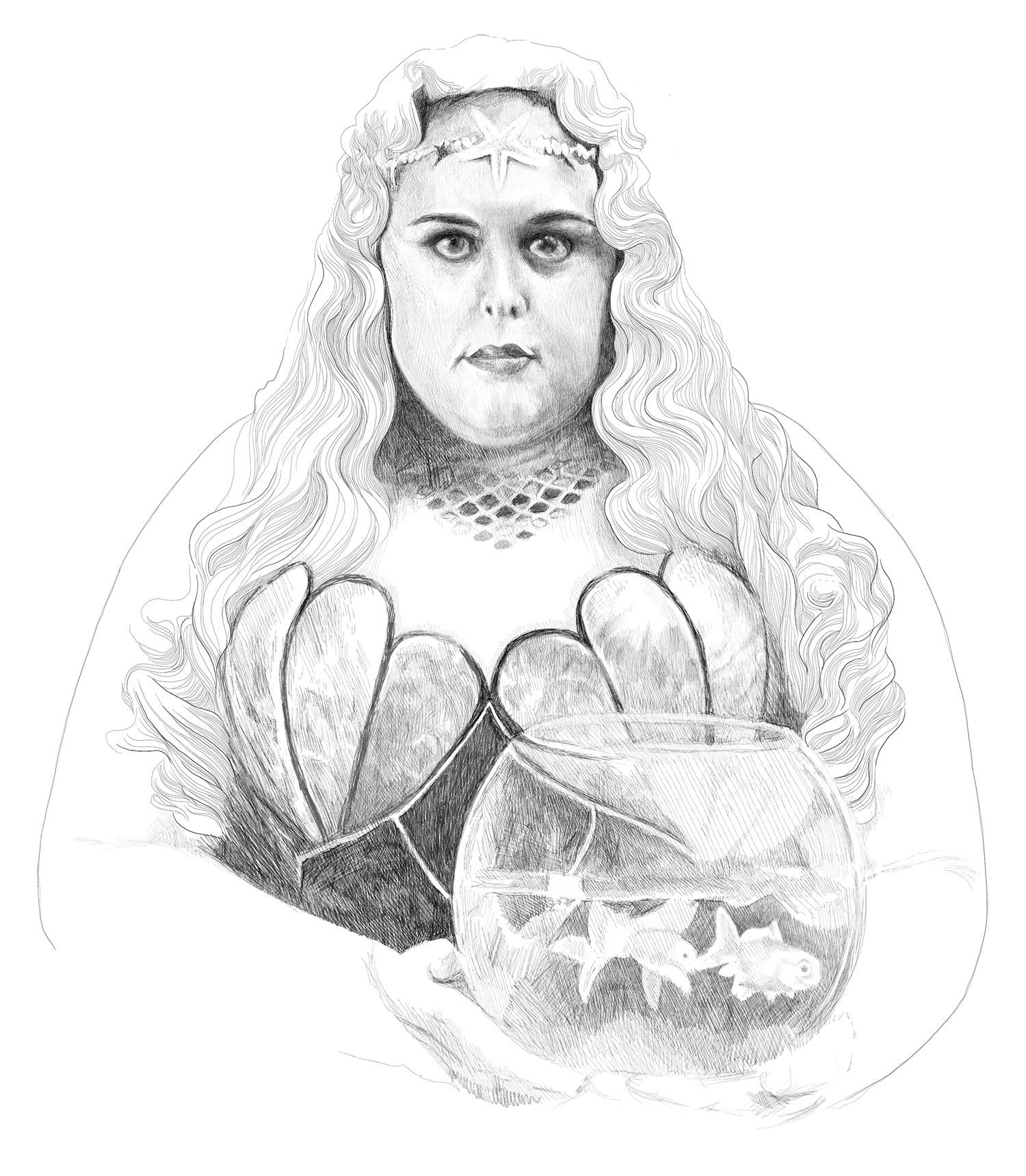 I've redrawn the wonderful portrait of Miss Atlantis, by Leah Gallo