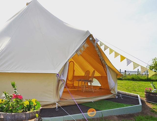 The bell tent all ready for a hen party #havingafieldday #activehen #scottishwedding #perthshirewedding #belltent