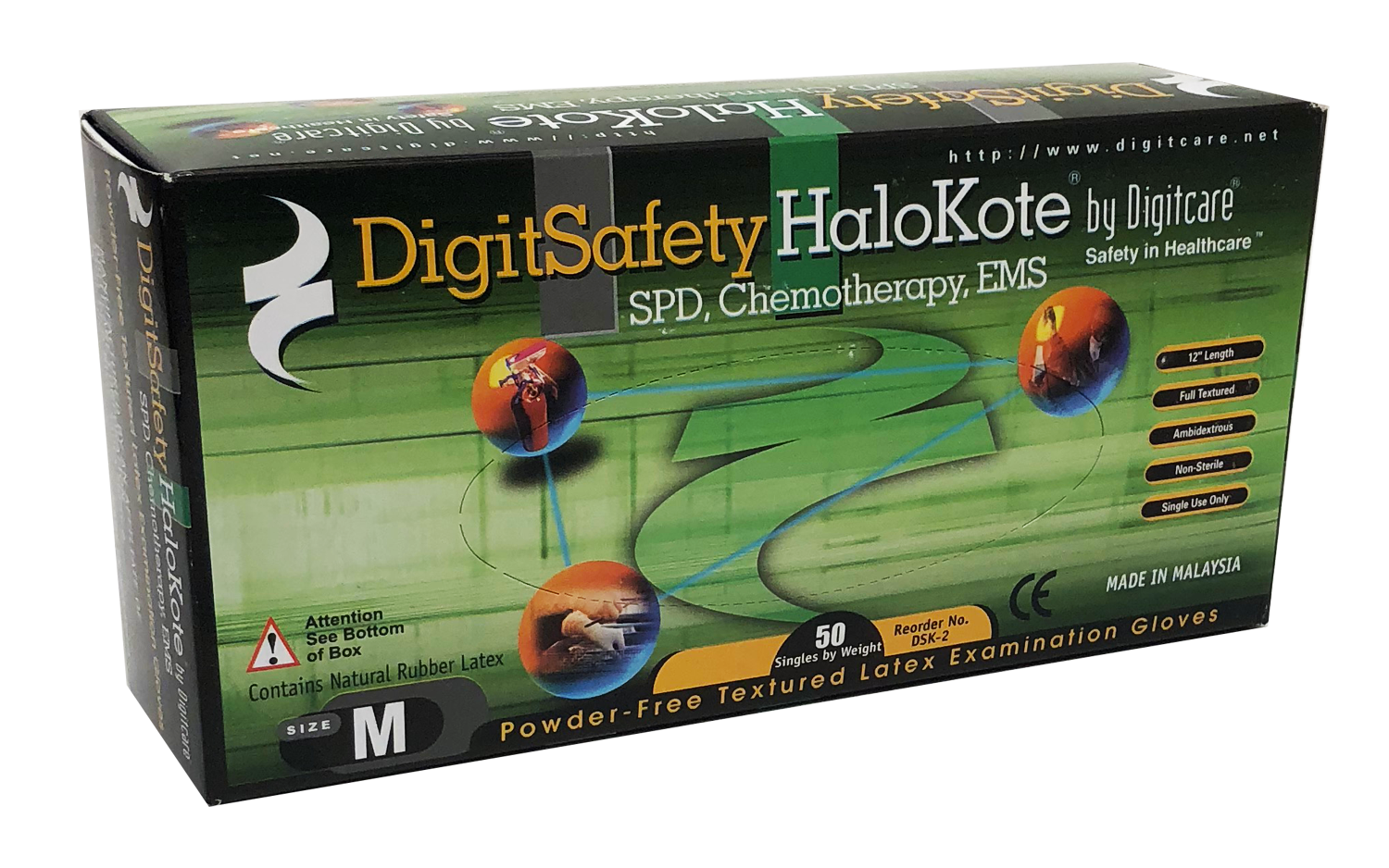 DigitSafety HaloKote™ Powder-Free Latex Exam Gloves