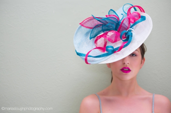 large wedding hat mother of the bride ivory pink teal