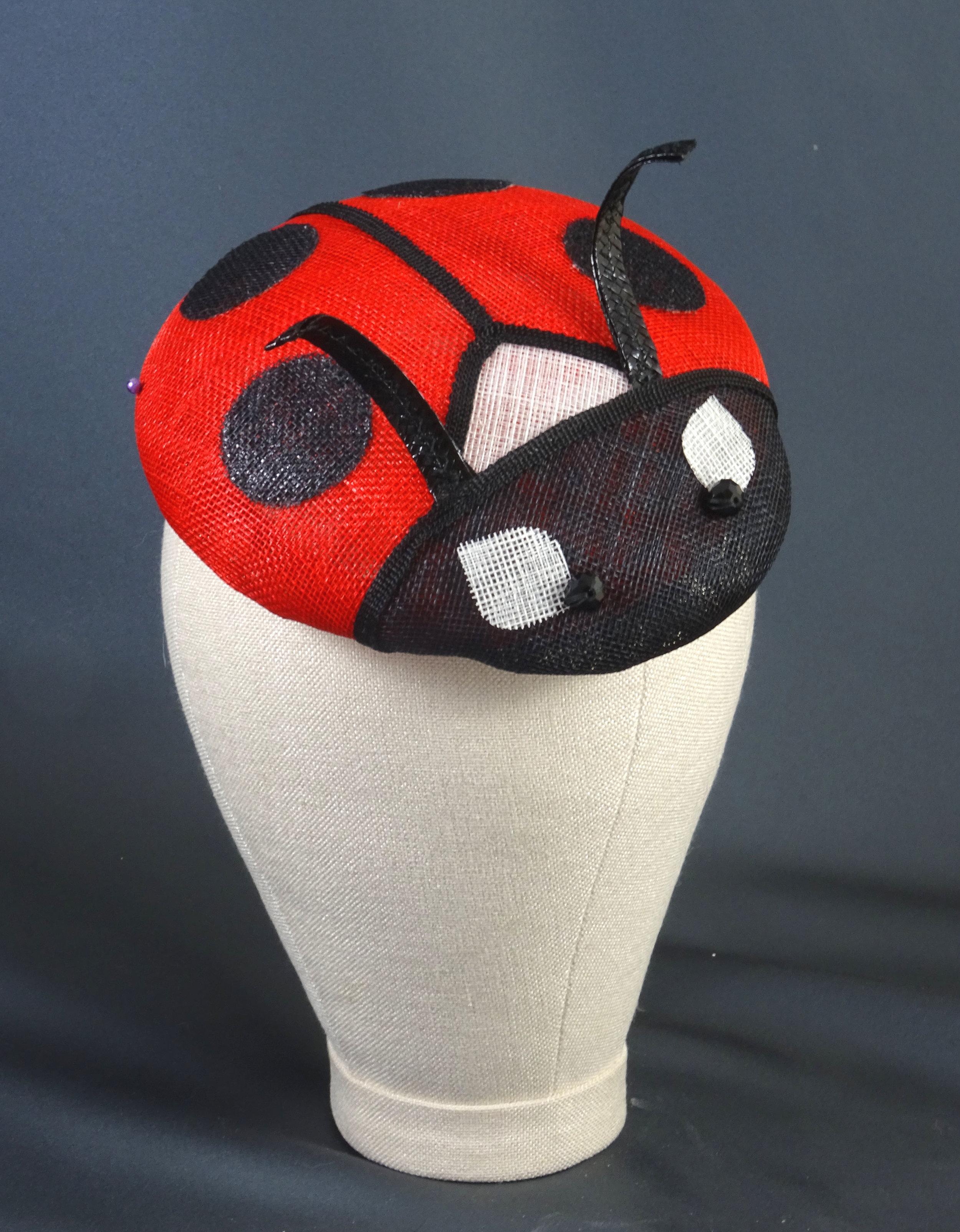 Quirky millinery, ladybird hat for Ascot, fascinators online.JPG