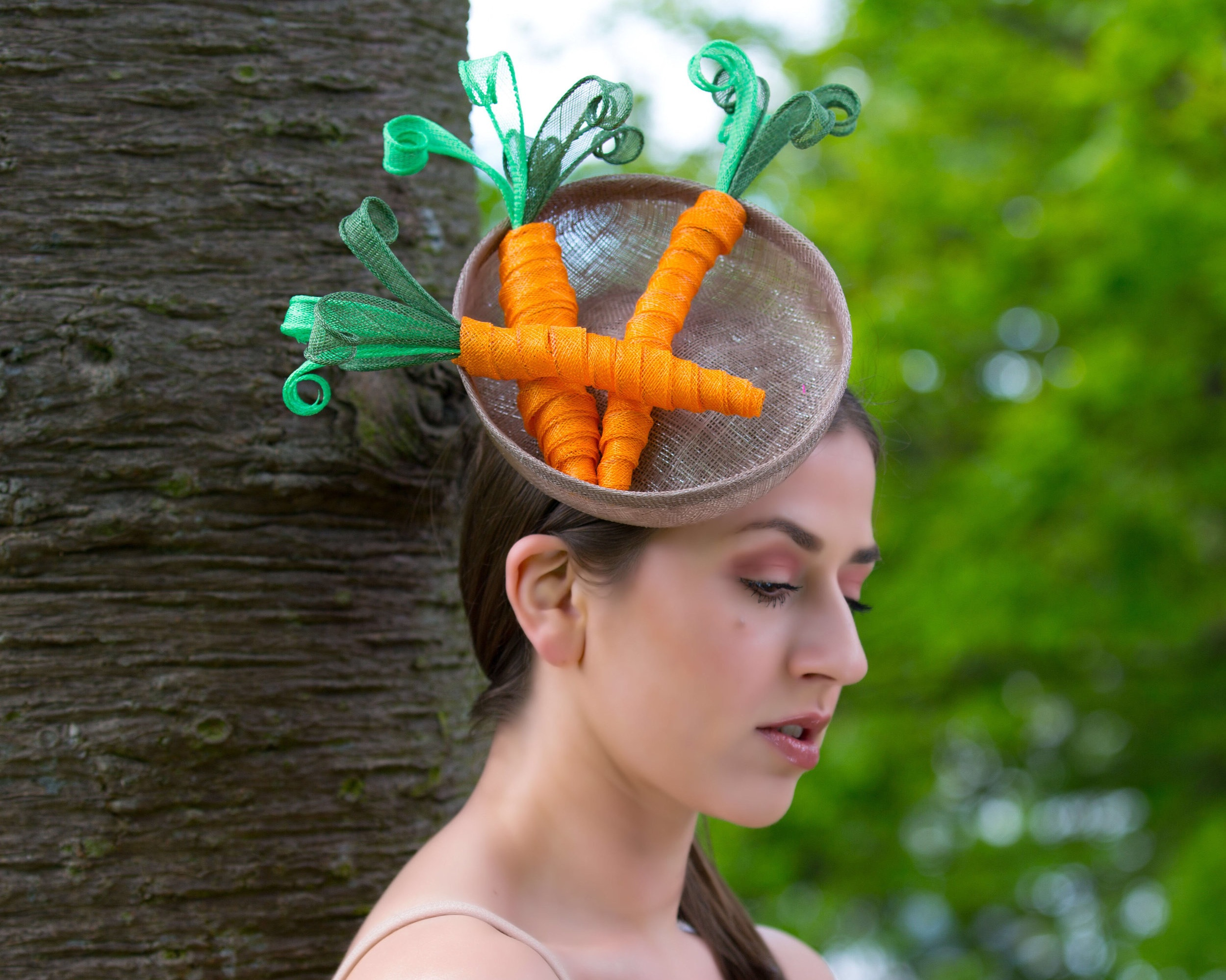 A basket of carrots theatrical millinery