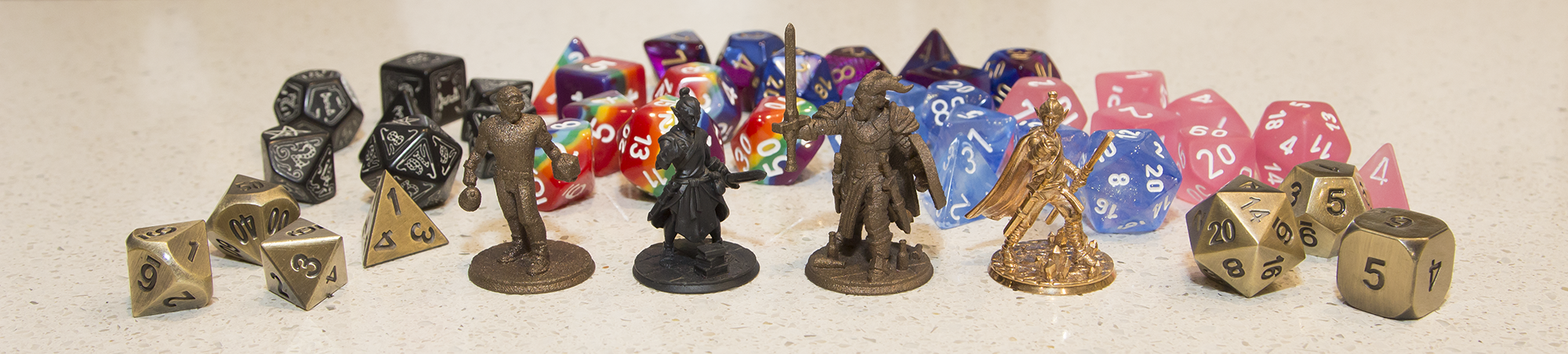 Miniatures L to R: ME (Lil Nicky - a birthday present from D&D friends), Rin the Wood Elf Monk, Benevolence the Tiefling Paladin, Bronze Rin.