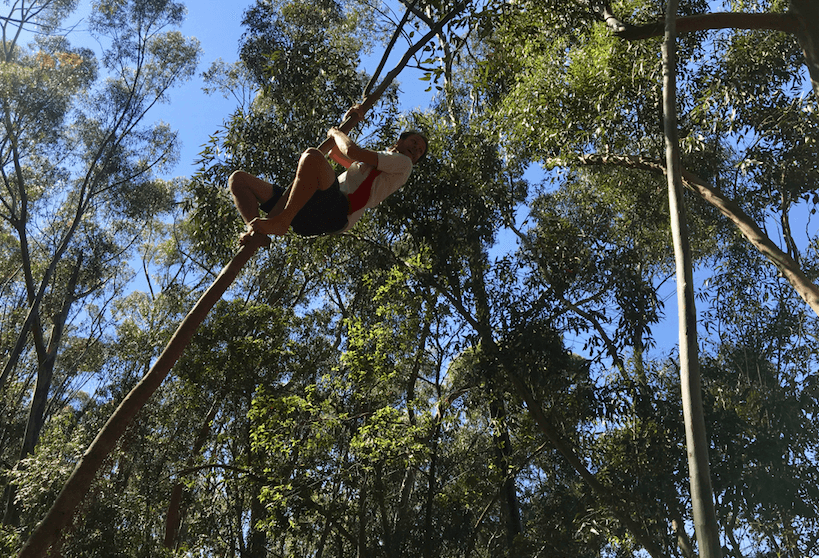 Our Program Director, Steven, about to take the leap (literally) during our fitness bootcamp in Cape Town.