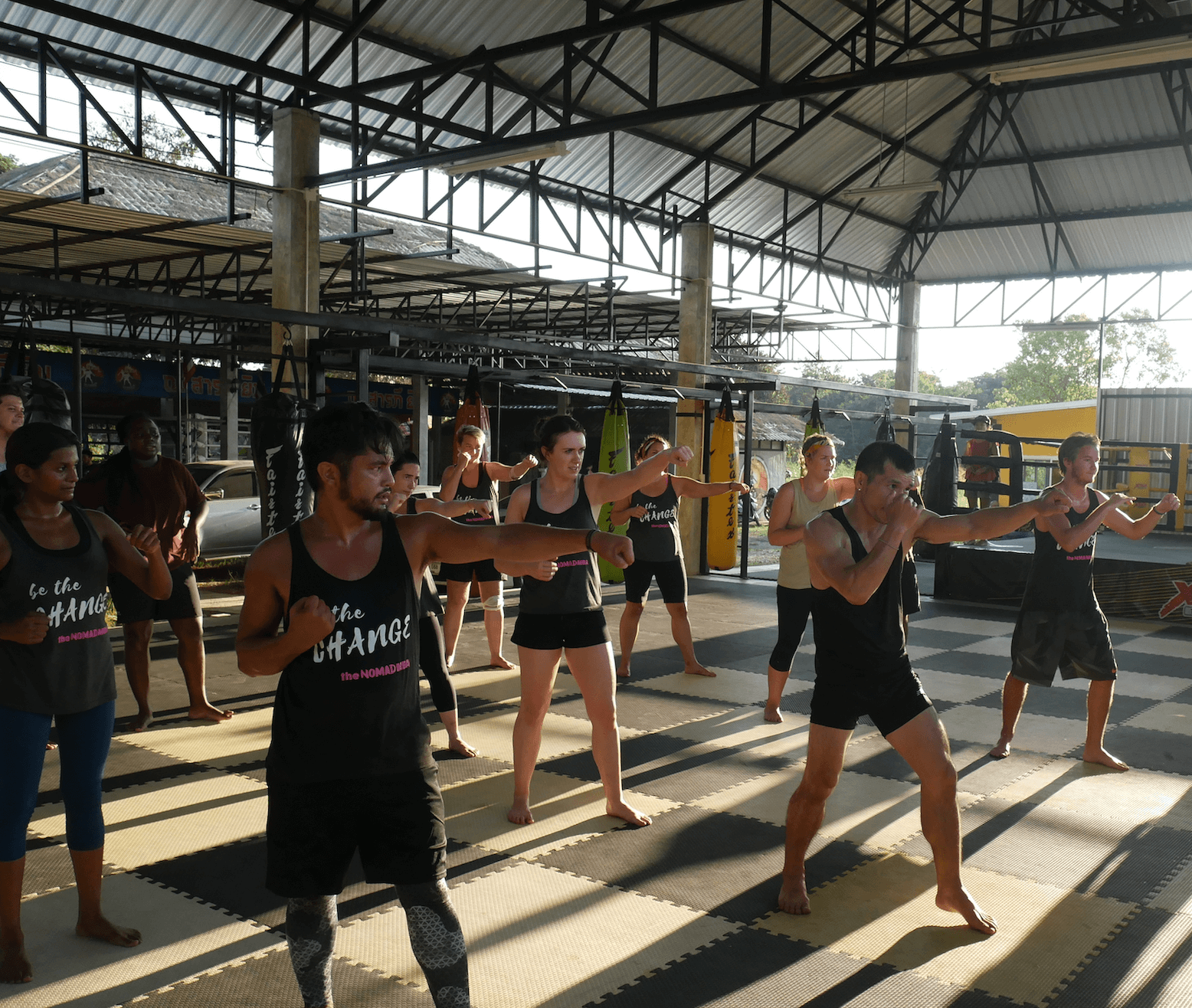 Outdoor group muay thai boxing class