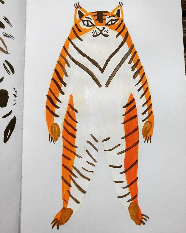 Stuffed animal design #illustration #critter #softtoy #stuffedanimal #toy #design #emilythillyillustration #tiger #jungle #gouache #talens #sketchbook #stripes #drawing #painting #artgram #goodvibes