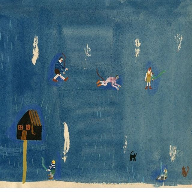Forest play #illustration #play #games #childhood #painting #blue #ink #forest #cabin #mitimi