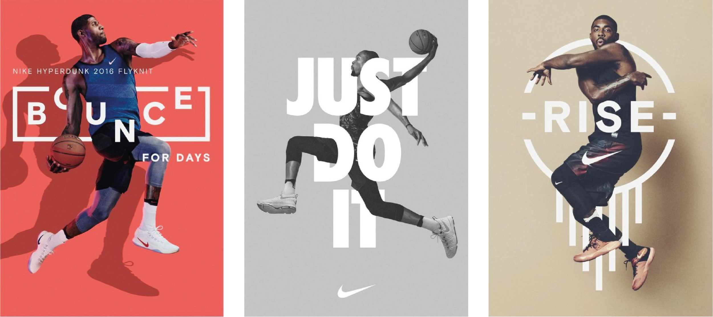 A selection of Nike posters which display examples of intertwining text with an image.