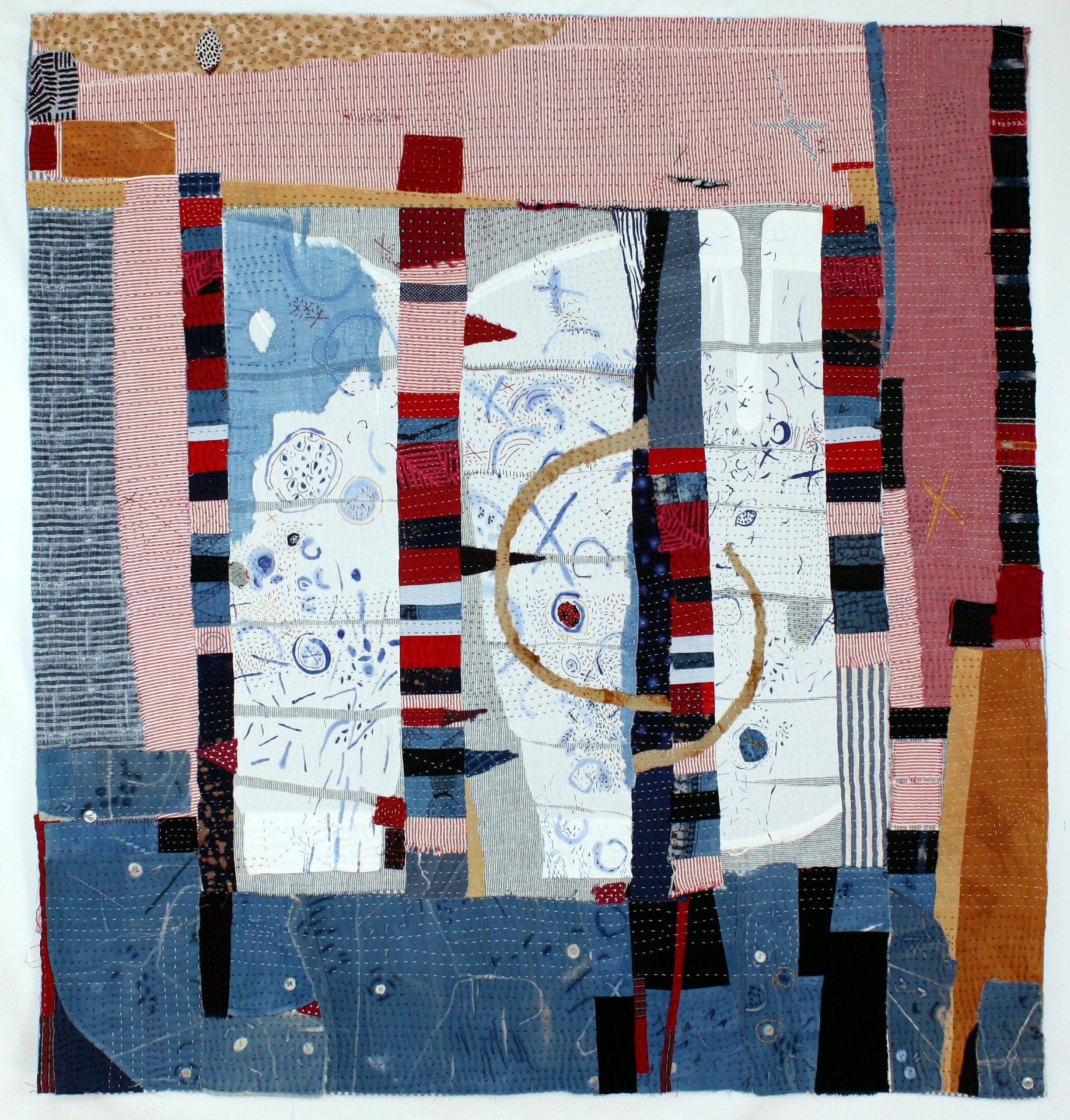 """Coin Op Laundry,  44"""" x 41"""", cotton, linen, found white dress shirts painted and dyed, hand embroidered and stitched"""