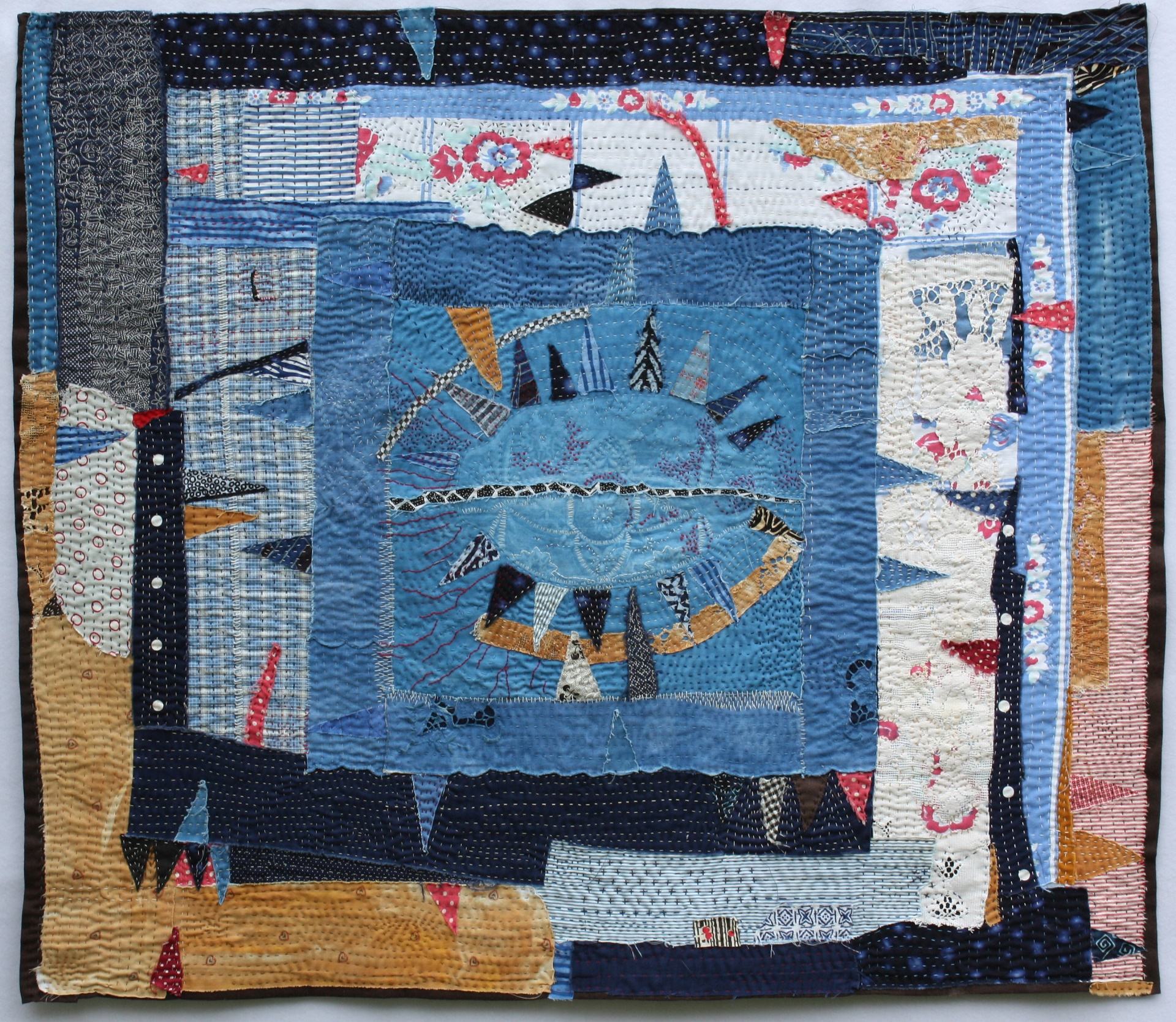 """A History of Toil: Marge's Pickledish, 32 x 37"""", cotton,linen, found table linens"""