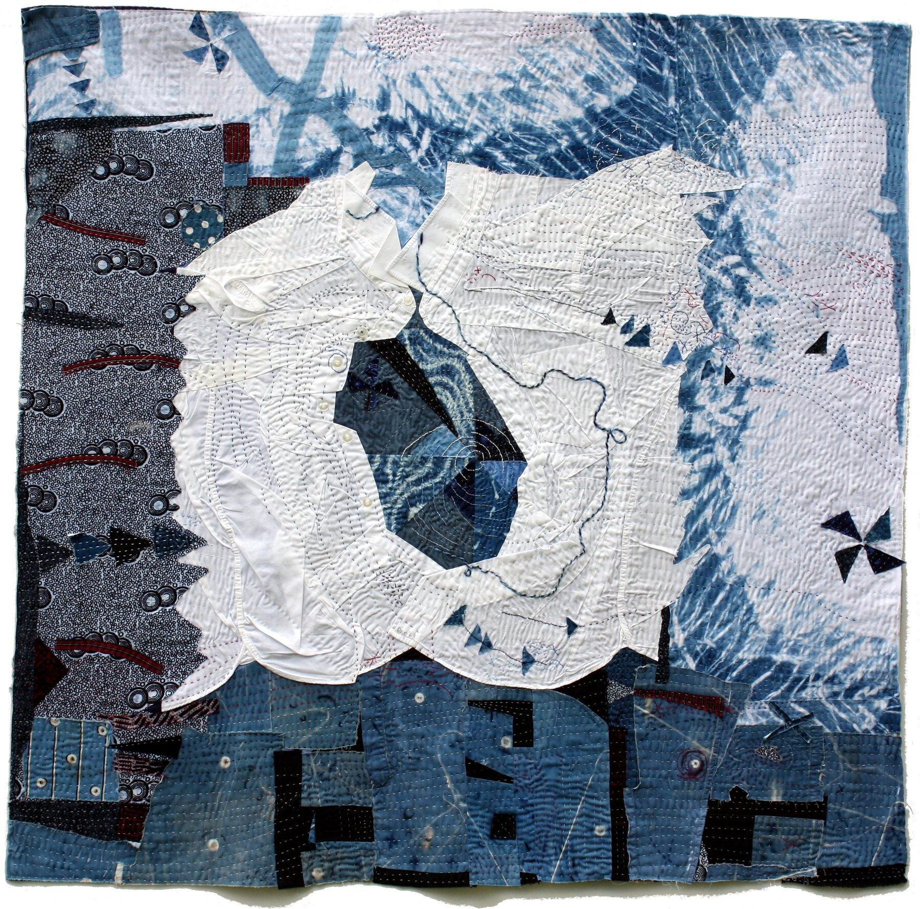 "Spin Cycle  , 43 x 44"", Cotton, linen, found white dress shirts, hand embroidered and stitched."