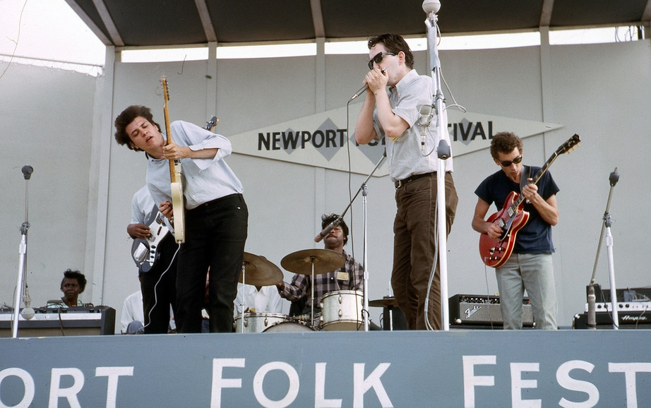 Newport Folk Festival 1965, the band's first big gig. Bloomfield, Arnold and Lay actually played with Bob Dylan later that evening during his first electric blues set.