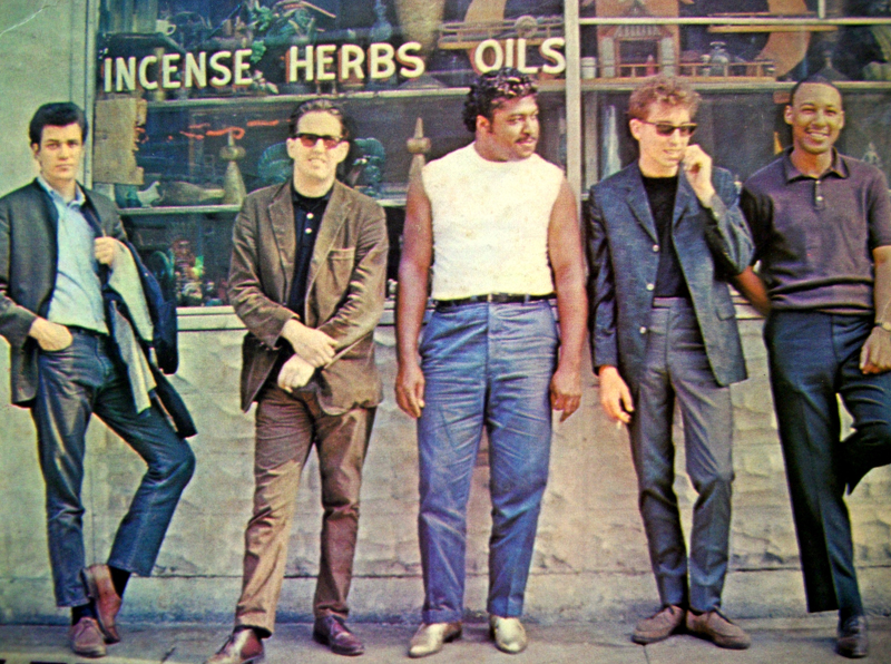 The band (minus Naftalin). L-R: Bloomfield, Butterfield, Arnold, Bishop, Lay.