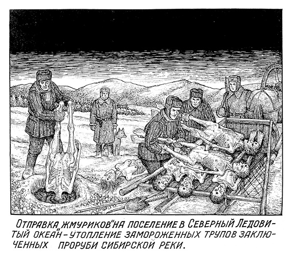 "The caption reads: ""Sending stiff to permanent Arctic Ocean settlement"" – drowning of frozen inmate corpses in river ice holes (to avoid grave digging in permafrost)."
