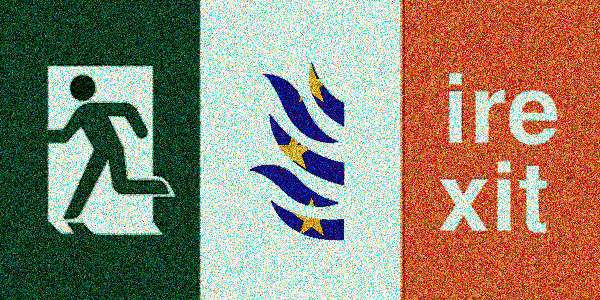 Irish Flag, EU in Flames, Irexit