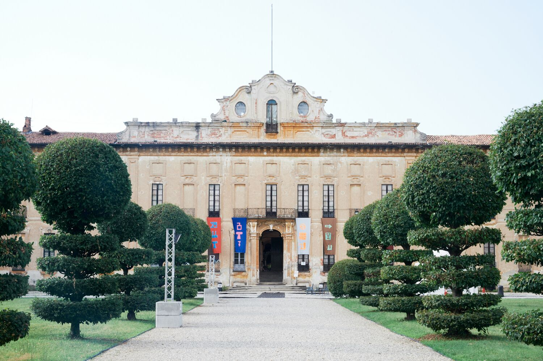 Villa Arconati with the flags featuring Nathalie Du Pasquier's Alphabet for TF2019. Pic  Francesco Margaroli .