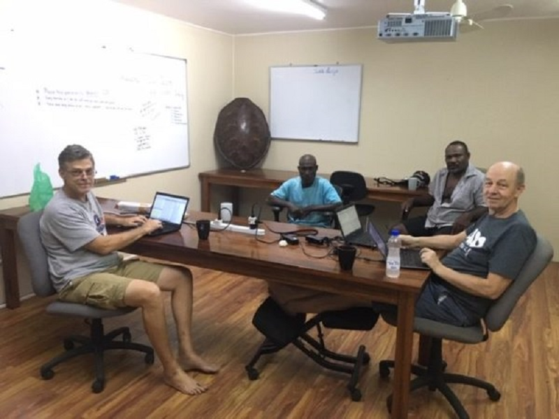 The team working on the Tigak Bible translation