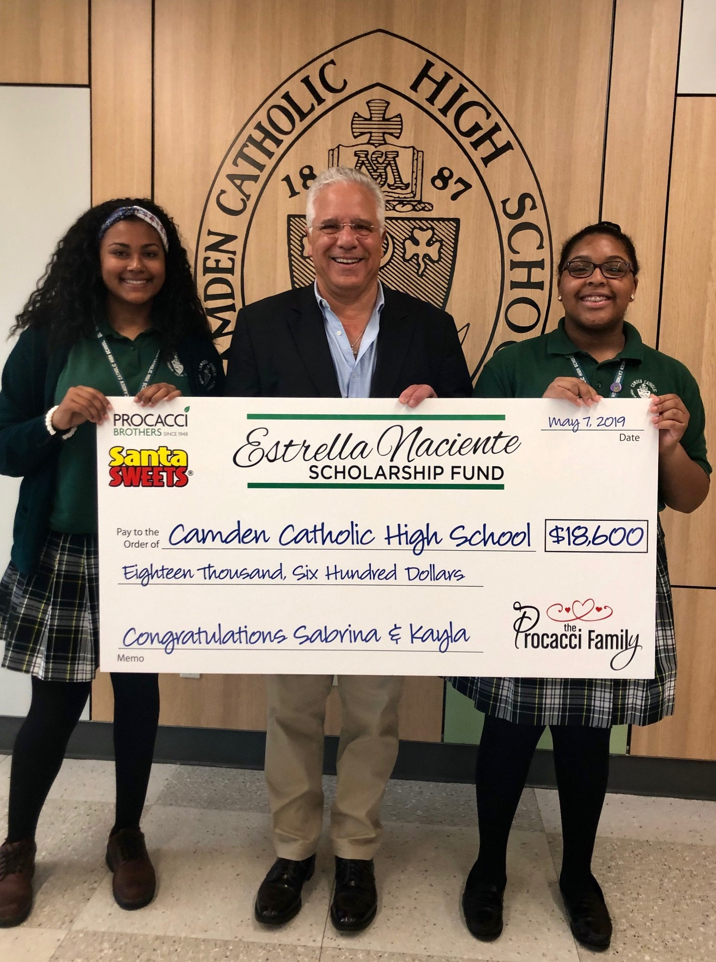 Camden Catholic High School 2019 - Procacci Brother's Estrella Naciente Scholarship Fund donated $18,600 this year to two outstanding freshman, Sabrina and Kayla. Procacci Holdings' CEO and Camden Catholic alumnus, J.M. Procacci, presented the scholarship to the students at a ceremony in front of their classmates, teachers, and families. Congratulations Sabrina & Kayla!