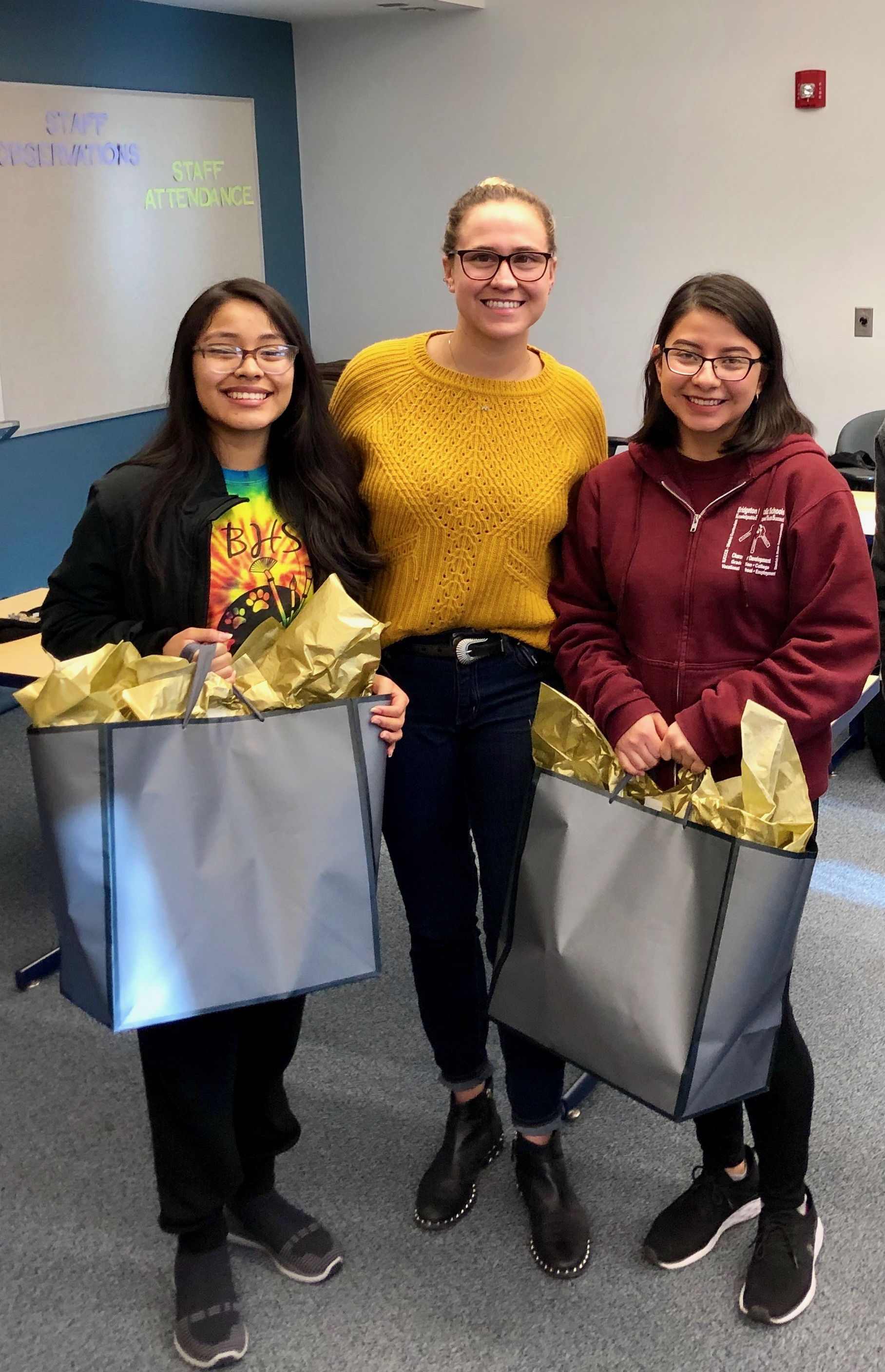 Bridgeton High School 2019 - Estrella Naciente donated two full tuition college scholarships to Virgen and Stephanie. The applicants wrote an essay on the importance of sustainable agriculture. This years scholarship was presented by Gabrielle Procacci, president of Estrella Naciente.