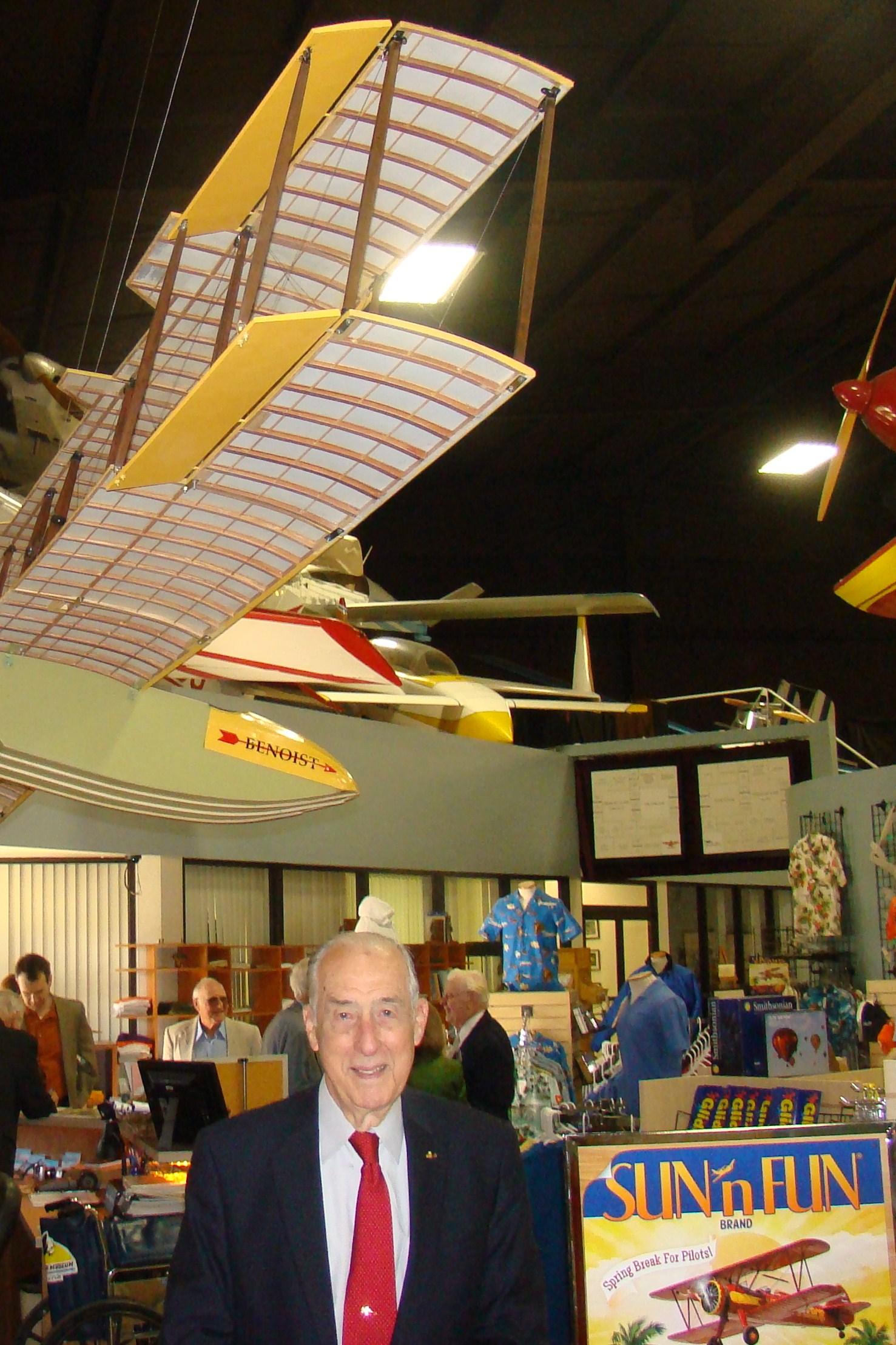 Florida Air Museum, Dick Newton at entrance, 28 Jan '12.JPG