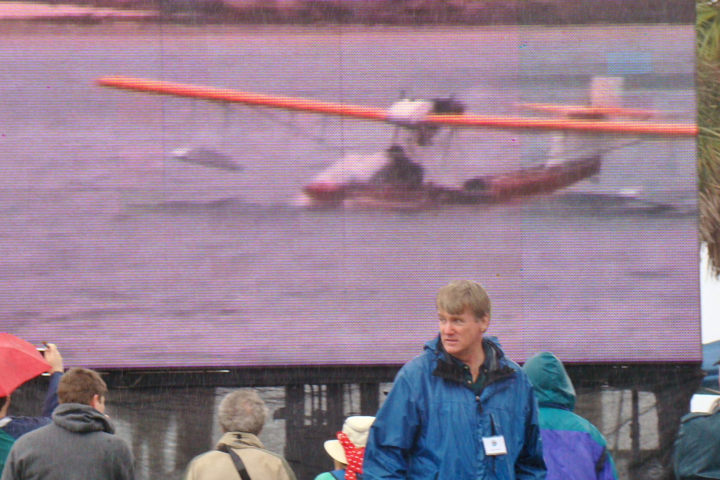 Big Screen Arrival of Eddie Hoffman's Mullet Skiff at Tampa, 1 Jan '14.JPG