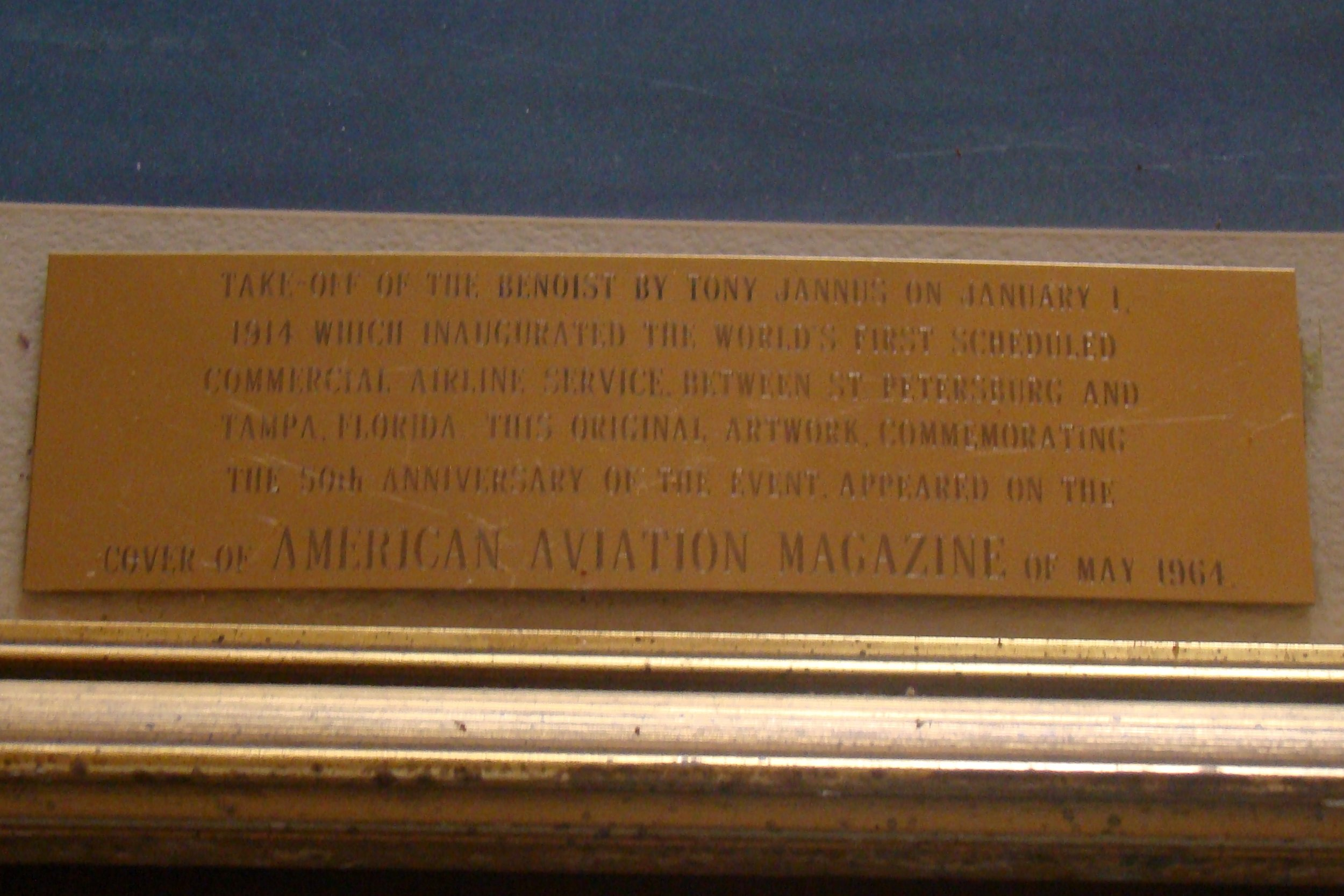 Krusen Picture, Brass Plate on Benoist,Cover of American Aviation Magazine, May 1964.JPG
