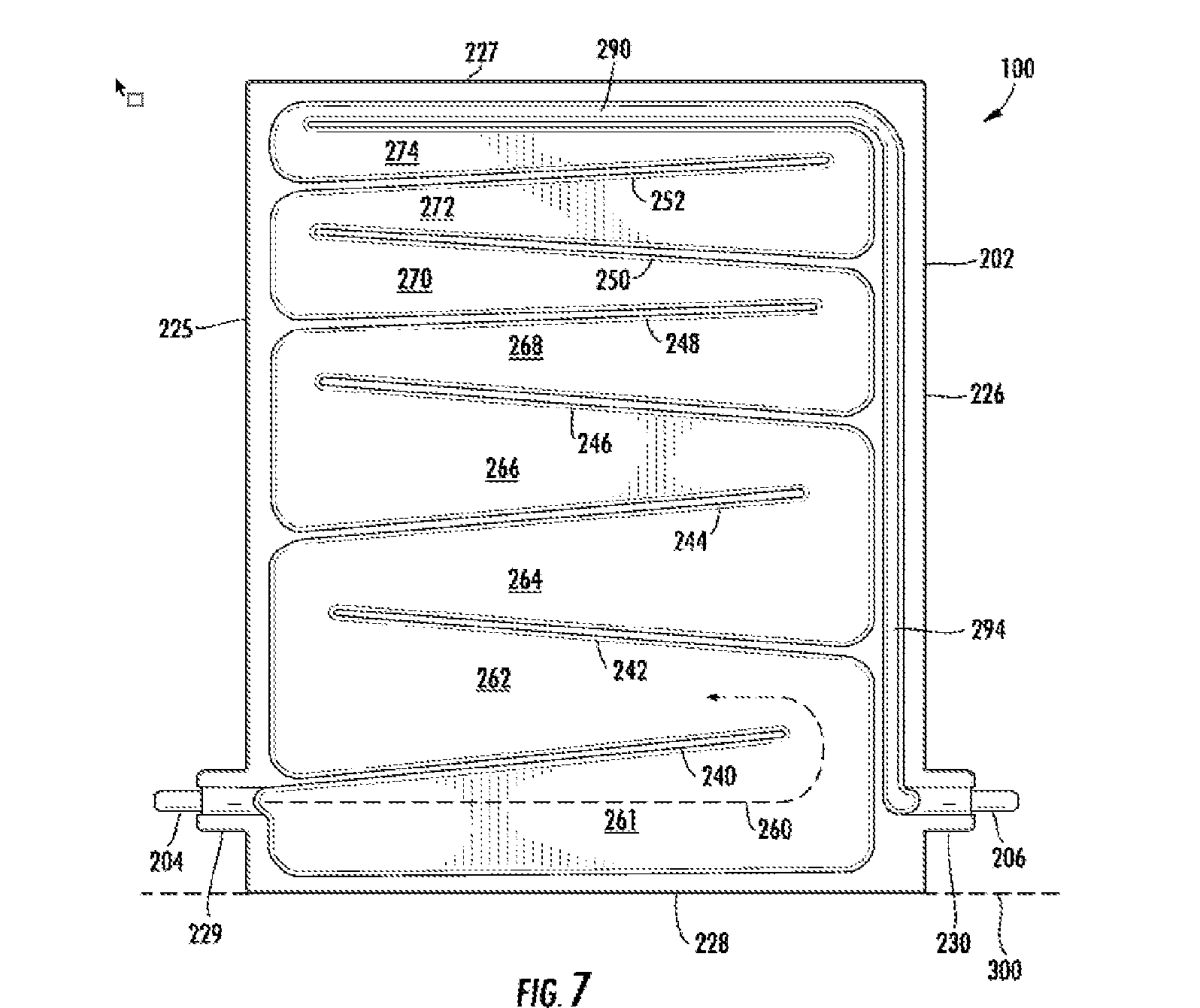 Figure 7 of LG's patent application shows a schematic of a first side of the heat exchanger 100