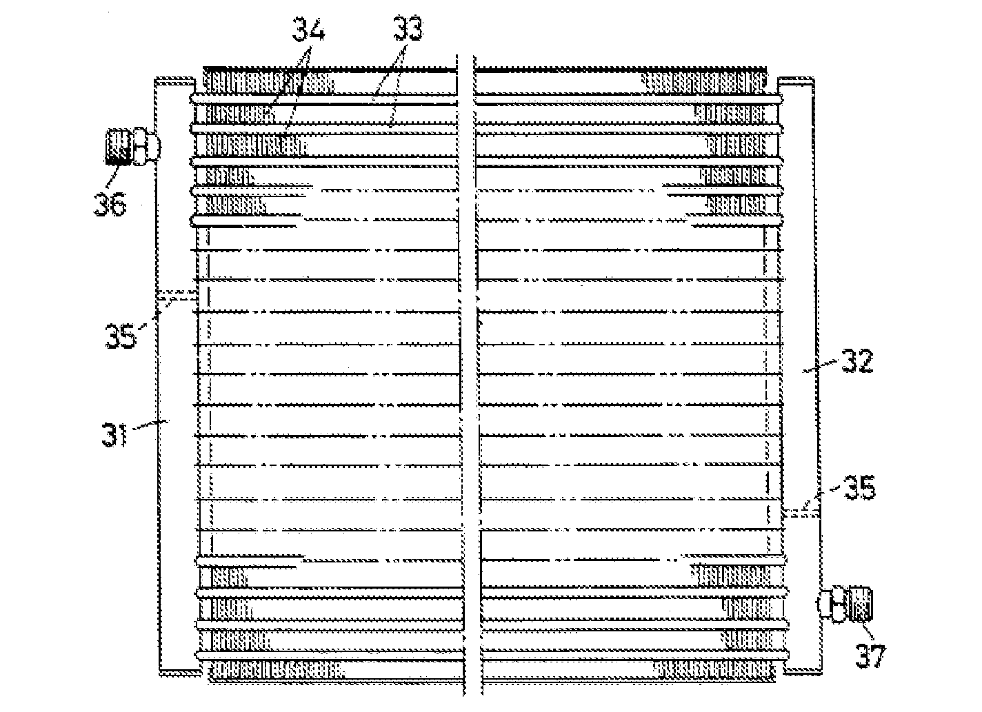 Ouchi Figure 13, a front elevation of a heat exchanger