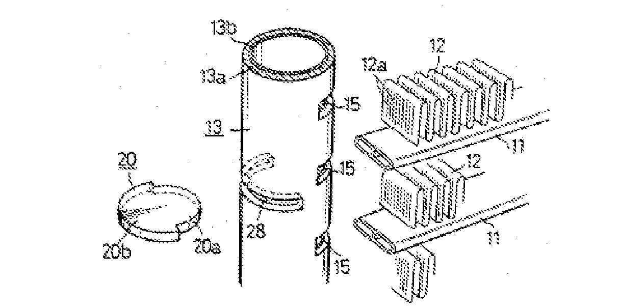 Hoshino Figure 3, a perspective view showing the join between the header 13 and the tubes 11