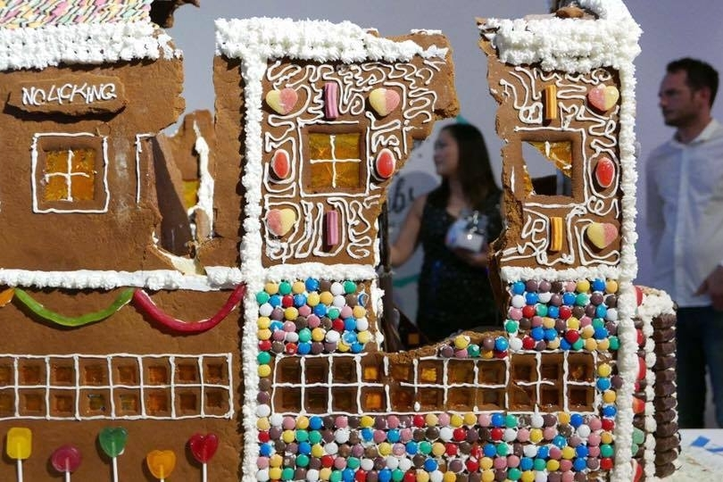 - Mid-smash at the Gingerbread Demolition, raising funds for Save The Children Australia (with Co-creator, Will Wightman).