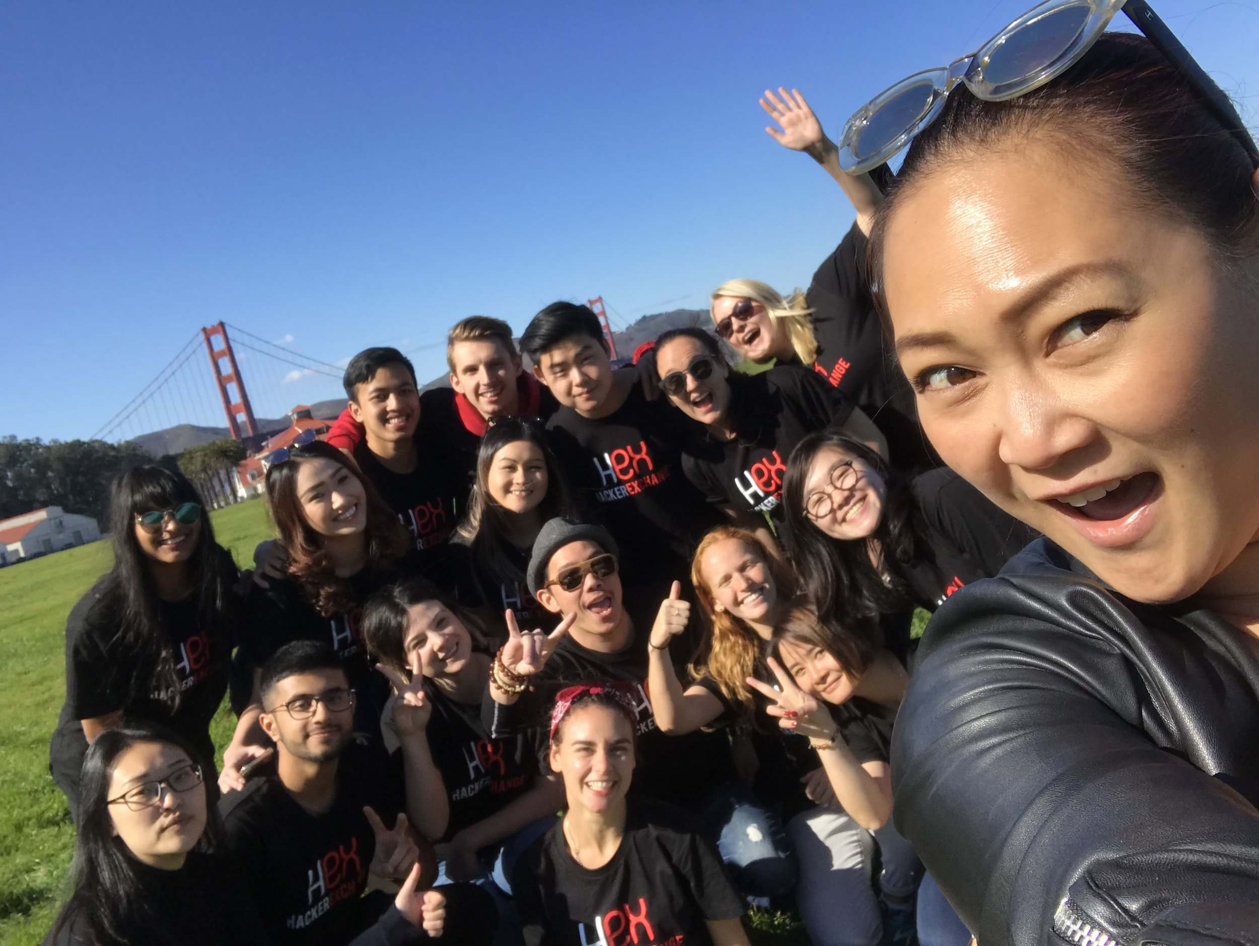 At the Golden Gate Bridge with a group of Hacker Exchange university students from around Australia.