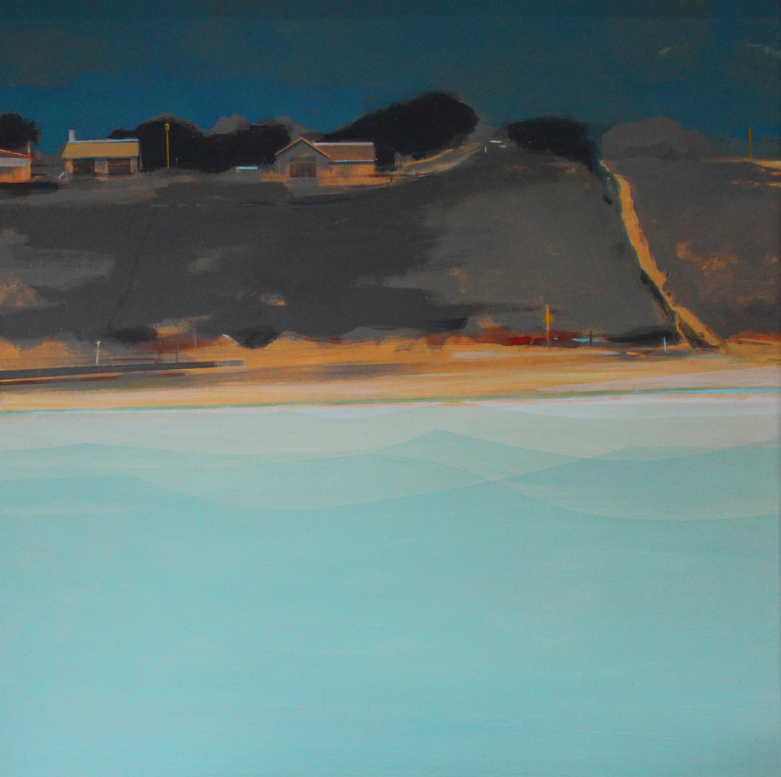 Beach houses, Hayle Estuary, 100x100 cm , acrylic on canvas, £sold.