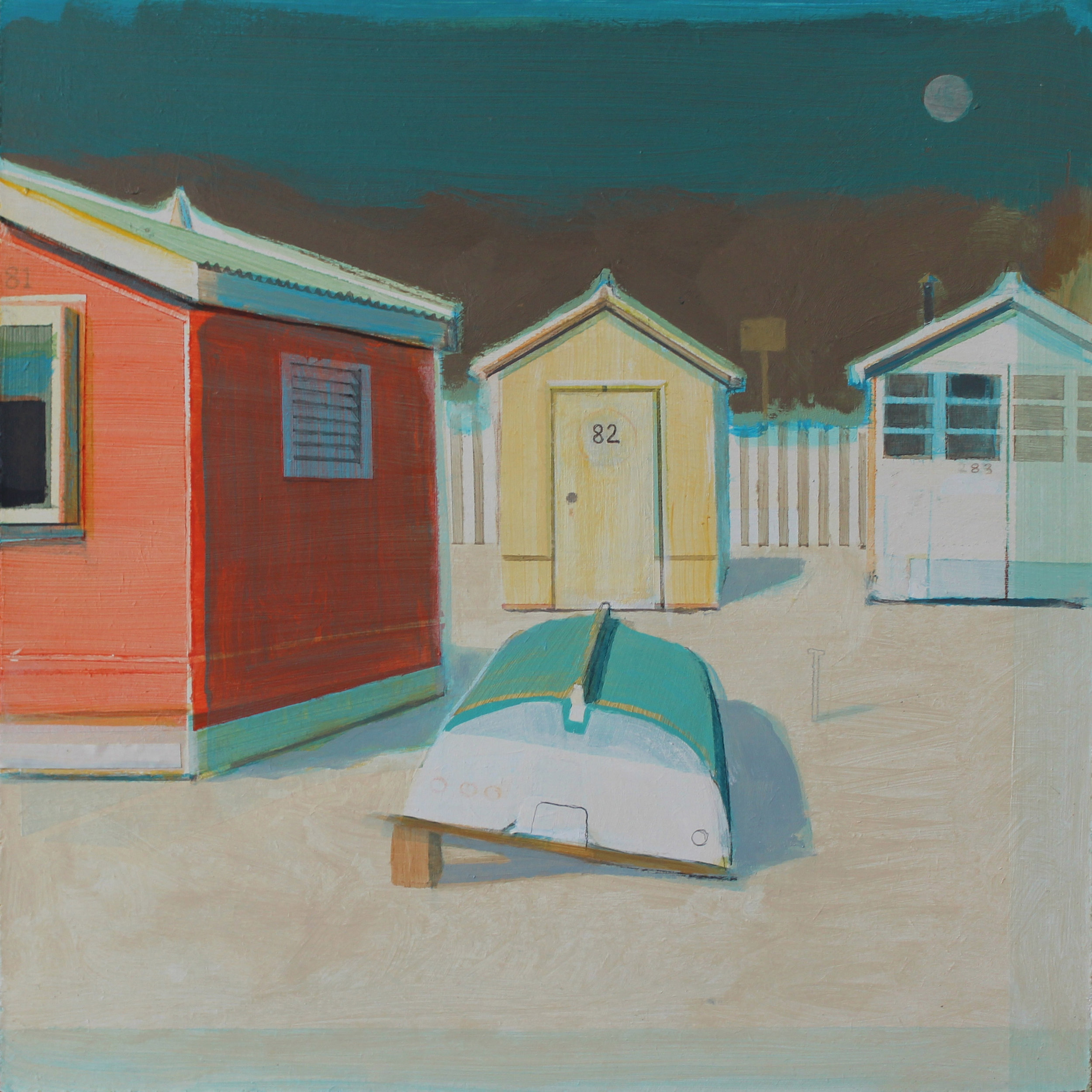 Beach huts in sunshine, acrylic on board, 30x30 cm , £sold.