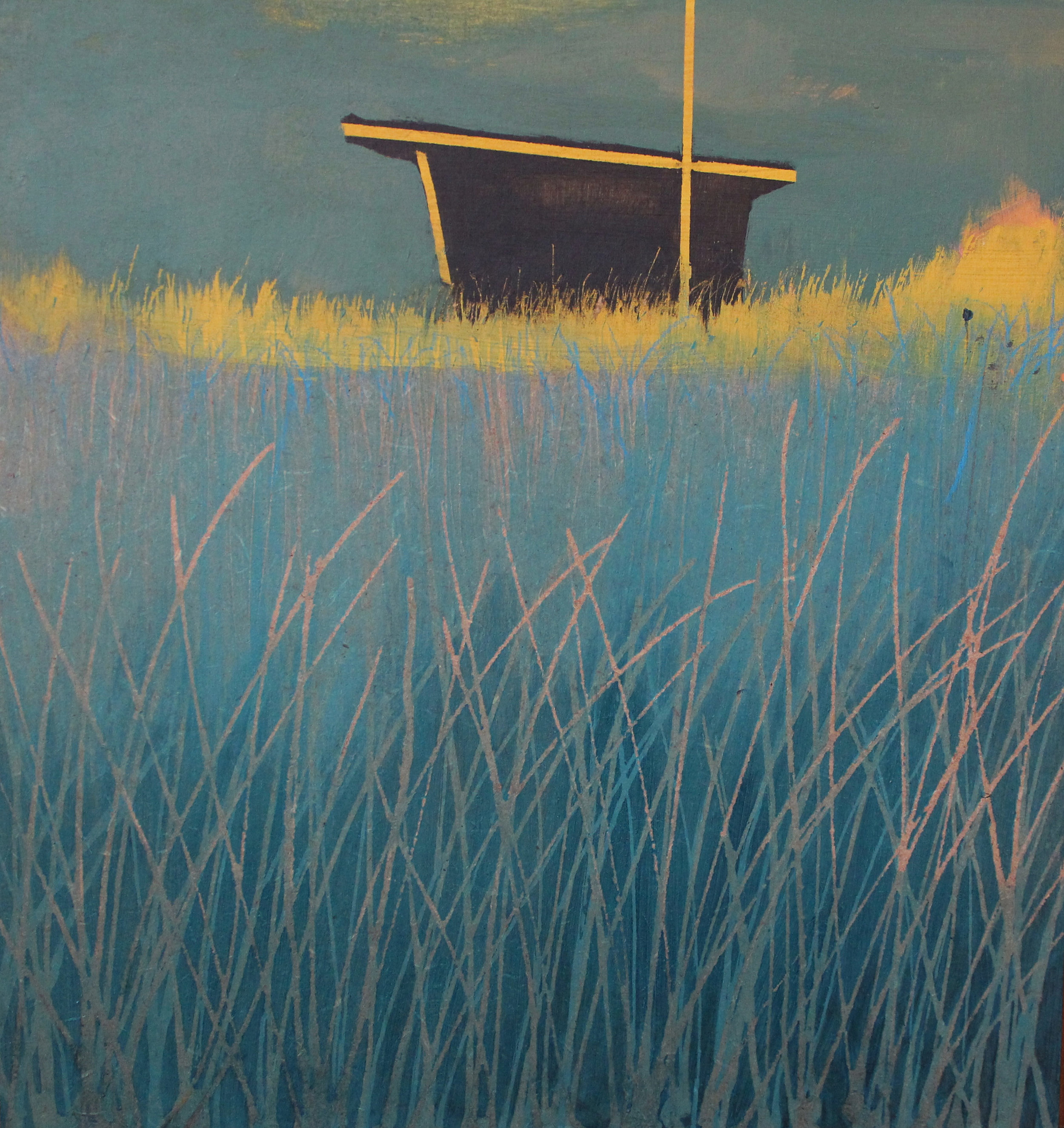 Break of sunlight, Gwithian lifeguard hut, 28x28 cm, acrylic on board, £sold.