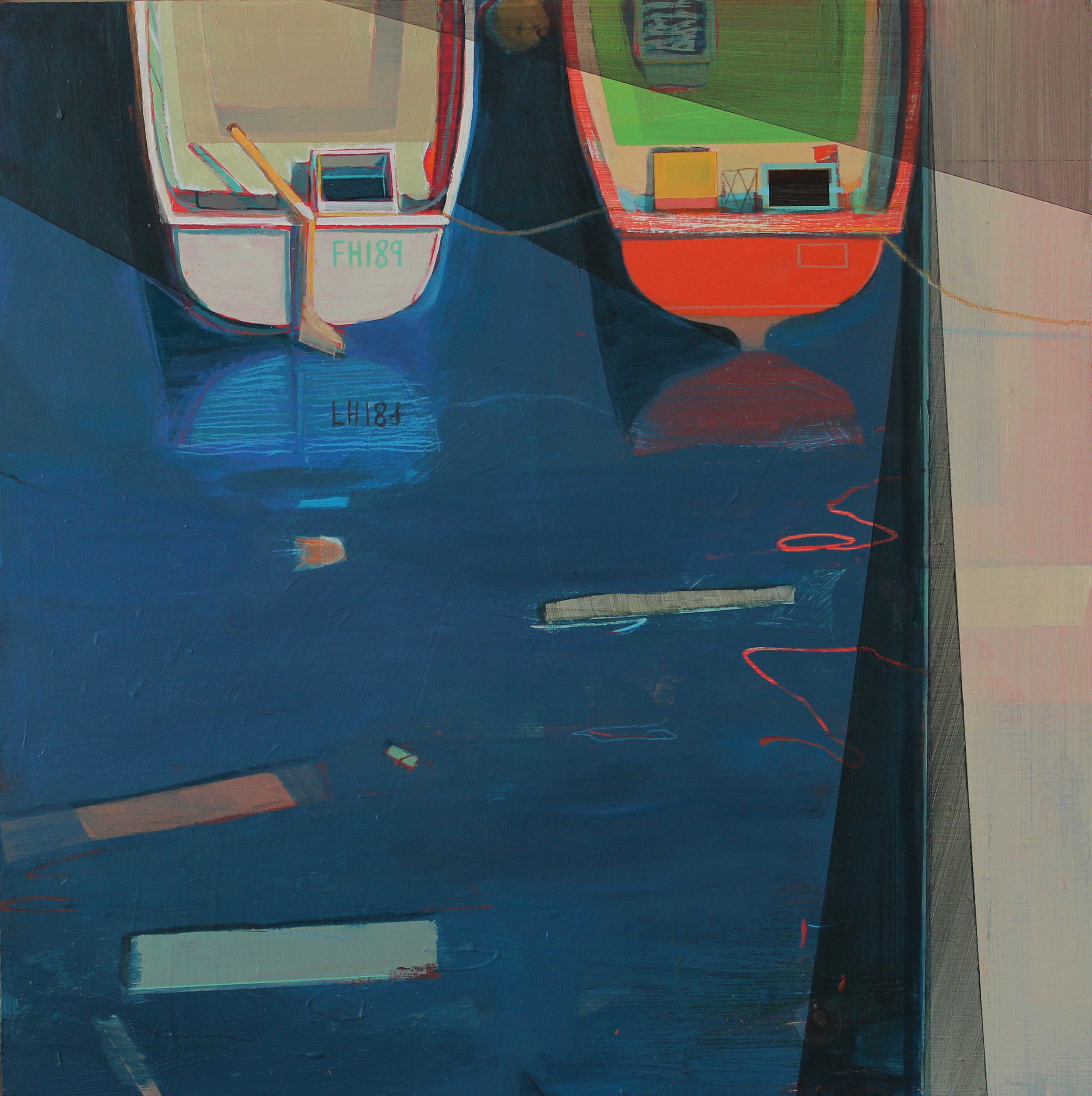 Two boats and a slipway, 45x45 cm, acrylic on board, £1050.