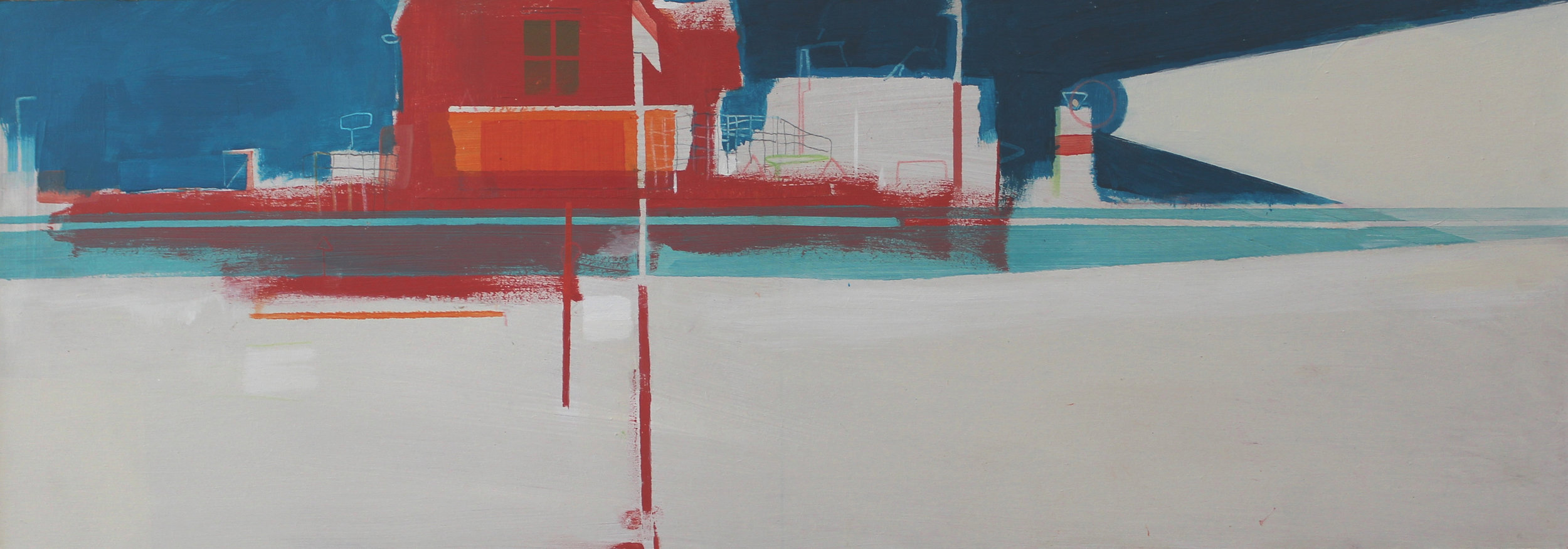 Harbour buildings and lighthouse, acrylic on board, 21.5x61 cm, £900.