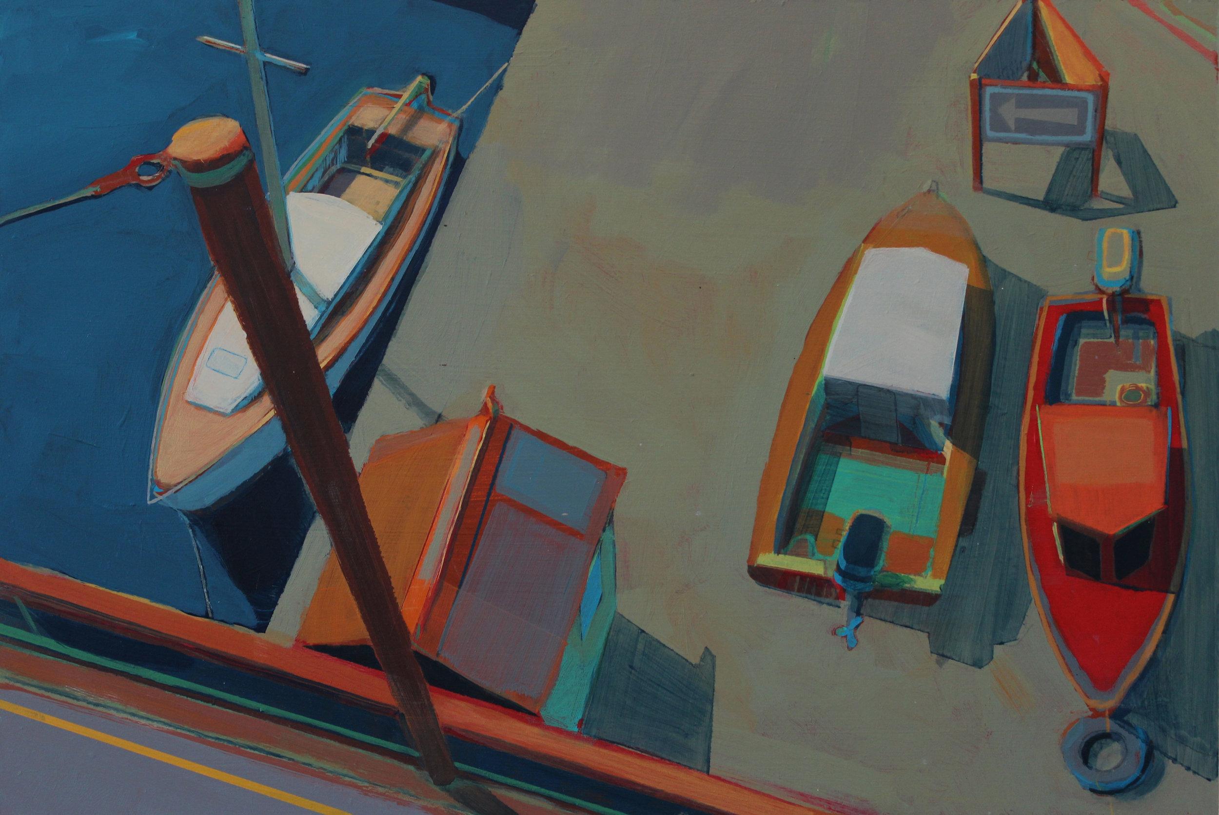 Looking down, Portreath harbour, acrylic on board , 30x45 cm, £ 795.