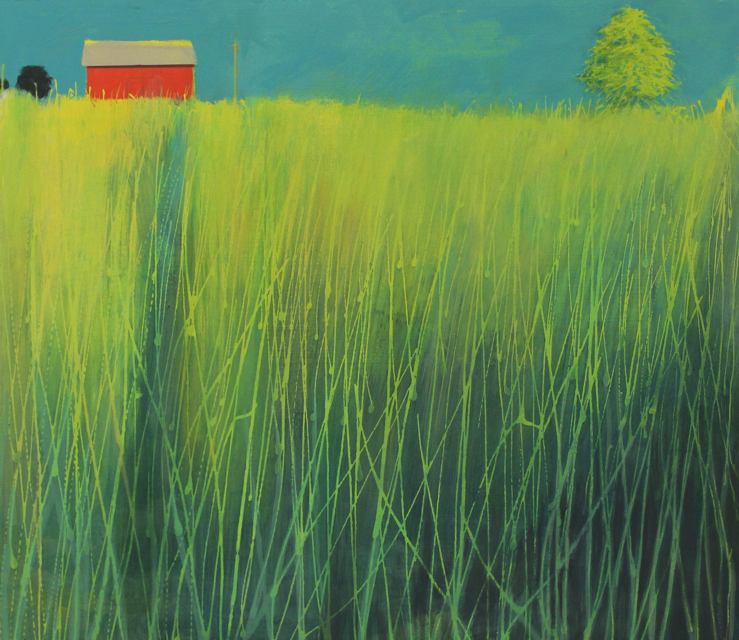 Path through the meadow, Cornwall, acrylic on board, 47x40 cm, £sold.