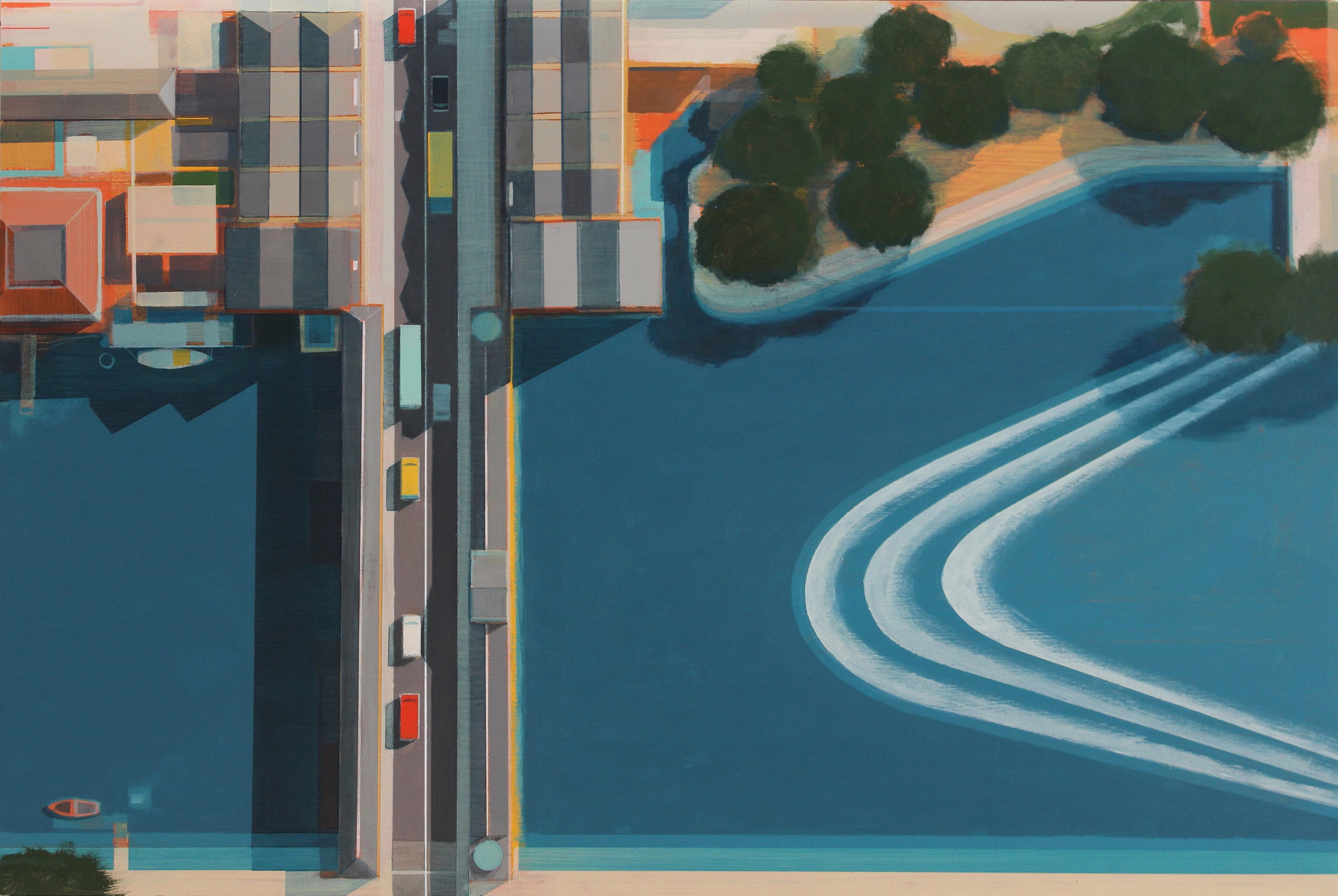 Pulteney Bridge and weir, Bath, acrylic on board, 40x59 cm £sold.