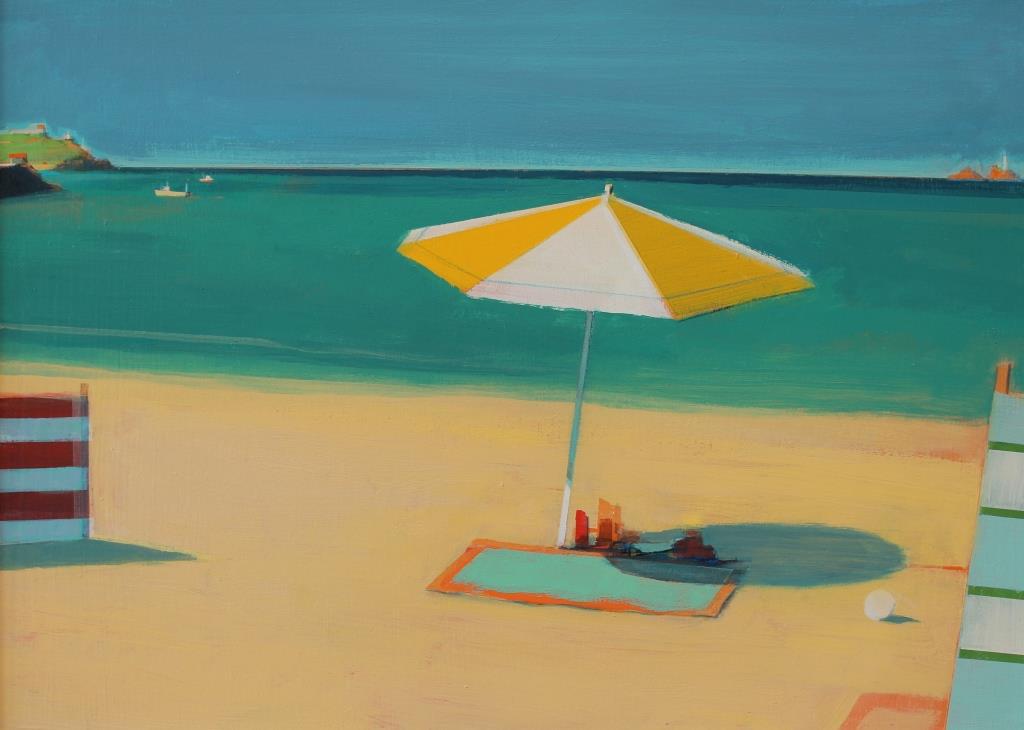 Carbis Bay parasol ,acrylic on board, 30x42 cm £sold.