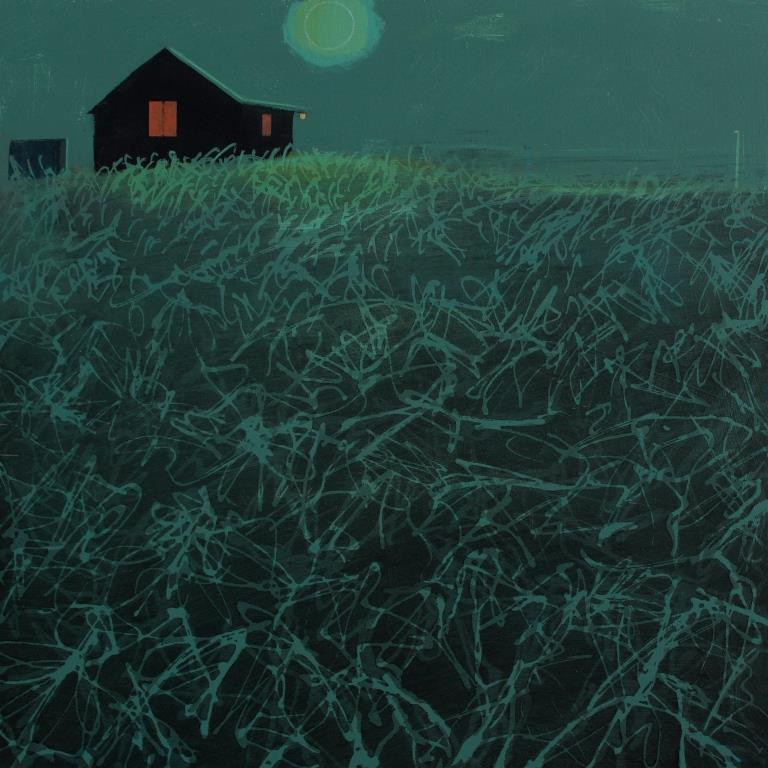 Chalet nocturne, acrylic on board, 30x30 cm, £595.