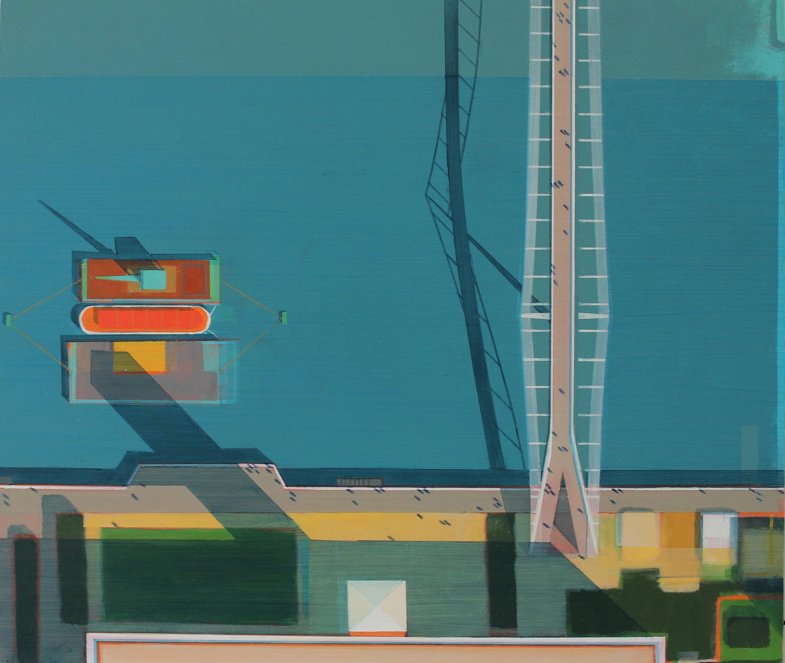 Millennium Bridge and Tate Modern, acrylic on board, 30x36 cm, £sold.