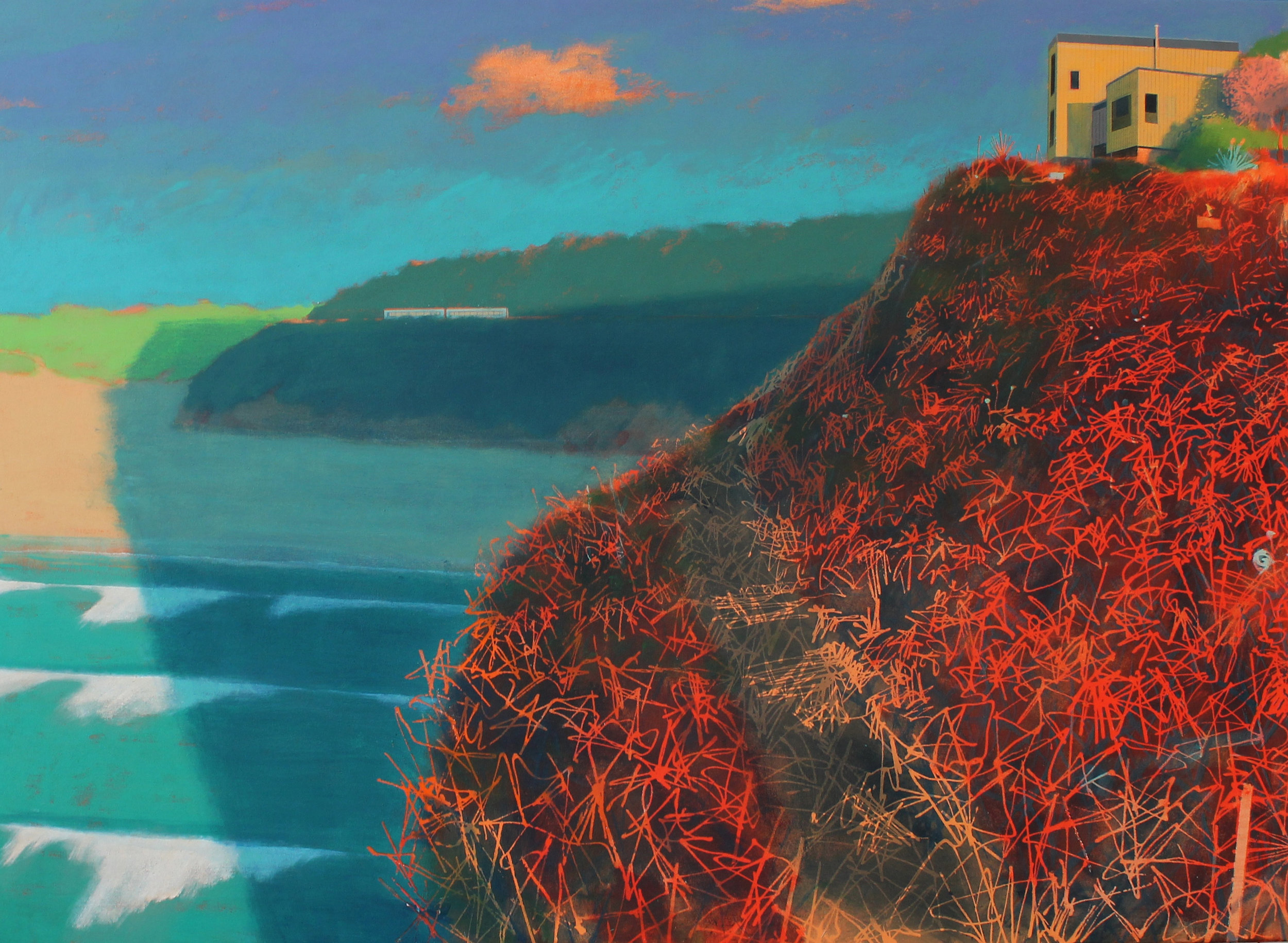 Sunset at Hawkes point, acrylic on canvas, 97x133 cm £sold.