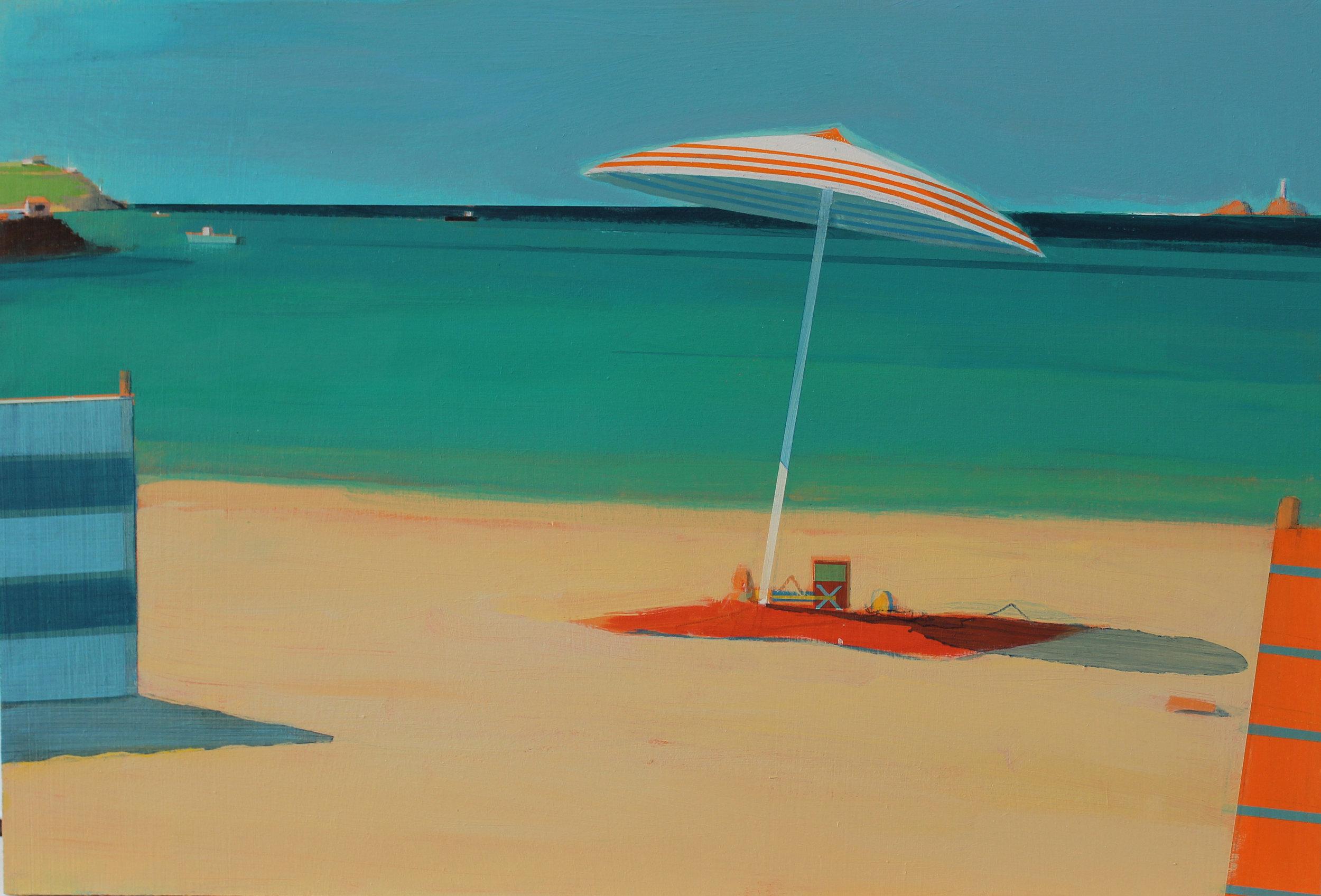 Orange and white parasol, Carbis Bay